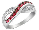 1/2 Carat (ctw) Lab Created Ruby Infinity Ring with Diamonds in 10K White Gold