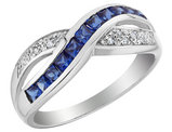 Created Blue Sapphire Infinity Ring with Diamonds 1/2 Carat (ctw) in 10K White Gold