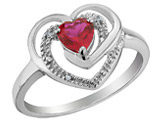 Created Ruby Heart Ring with Diamonds 2/5 Carat (ctw) in Sterling Silver