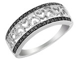 1/4 Carat (ctw) Black Diamond Heart Ring in Sterling Silver