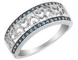 Blue Diamond Heart Ring 1/4 Carat (ctw) in Sterling Silver