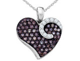 White & Champagne Diamond Heart Pendant Necklace 3/4 Carat (ctw) in 10K White Gold with Chain