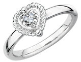 Heart Ring with Diamond Accent in Sterling Silver