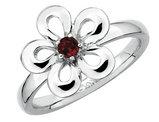 Red Garnet Flower Ring 1/10 Carat (ctw) in Sterling Silver