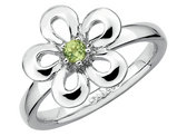 Ladies Peridot Flower Ring 1/10 Carat (ctw) in Sterling Silver