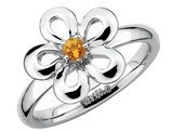 Ladies Citrine Flower Ring 1/10 Carat (ctw) in Sterling Silver