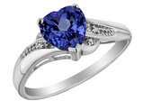 Created Blue Sapphire Heart Promise Ring with Diamonds 7/8 Carat (ctw) in 10K White Gold