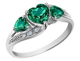 Created Emerald Heart Ring with Diamonds 1.25 Carat (ctw) in 10K White Gold