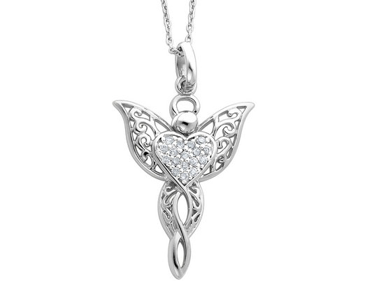 Sentimental Expressions Sterling Silver CZ Angel of Marriage 18in Necklace