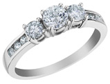 3/4 Carat (ctw H-I, I1-I2)Three Stone Diamond Engagement Ring  in 10K White Gold
