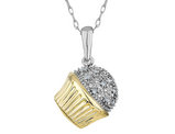 Diamond Cupcake Pendant Necklace in Sterling Silver with Yellow Gold Plating with Chain