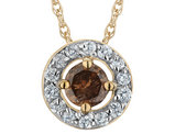 Champagne and White Diamond (Clarity I1-I2, Color H-I) Circle Pendant Necklace 1/2 Carat (ctw) in 10K Yellow Gold with Chain