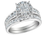 Diamond Engagement Ring & Wedding Band Set 1.40 Carat (ctw) in 14K White Gold (3.0 Carat Look)