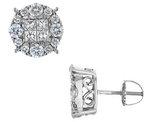 2.00 Carat (ctw) Princess Cut Diamond Earrings in 14K White Gold
