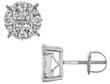 1.00 Carat (ctw H-I, I1-I2) Princess Cut Diamond Circle Stud Earrings in 14K White Gold