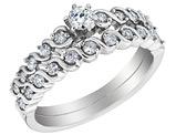 Diamond Engagement Ring & Wedding Band Set 1/2 Carat (ctw) in 14K White Gold