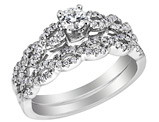 Diamond Engagement Ring & Wedding Band Set 1/2 Carat (ctw Clarity I1-I2, Color H-I) in 14K White Gold