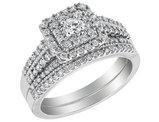 4/5 Carat (ctw H-I, I2-I3) Double Halo Diamond Engagement Ring & Wedding Band Set in 14K White Gold