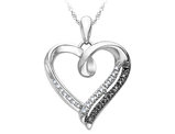 White and Black Accent Diamond Heart Pendant Necklace in Sterling Silver with Chain
