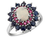 Blue Sapphire, Ruby, Created Opal Ring 3.00 Carats (ctw) in Sterling Silver