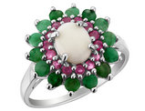 Emerald, Ruby, Created Opal Ring 2.80 Carats (ctw) in Sterling Silver