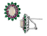 Emerald, Ruby and Created Opal Earrings 2.45 Carats (ctw) in Sterling Silver