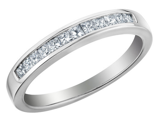 Princess Cut Diamond Wedding Band and Anniversary Ring 1/5 Carat (ctw) in 14K White Gold