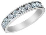 1.00 Carat (ctw H-I, I2-I3) Diamond Wedding Anniversary Band Ring in 14K White Gold