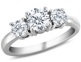 1/2 Carat (ctw H-I, I2-I3) Three Stone Diamond Anniversary Engagement Ring in 10K White Gold