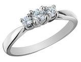 Diamond Three Stone Anniversary Ring 1/4 Carat (ctw) in 10K White Gold