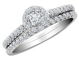 1/2 Carat (ctw H-I, I2-I3) Diamond Engagement Ring & Wedding Band Set in 10K White Gold
