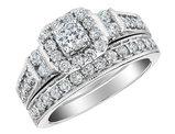 1.0 Carat (ctw H-I, I1-I2) Diamond Engagement Ring & Wedding Band Set in 10K White Gold