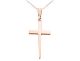 Cross Pendant Necklace in 14K Pink Rose Gold With Chain