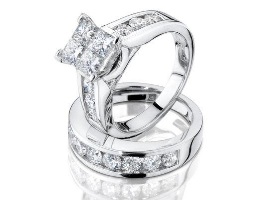 1.50 Carat (ctw H-I, I2-I3) Princess Cut Diamond Engagement Ring and Wedding Band Set in 14K White Gold