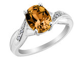 Citrine Ring with Diamonds 2.0 Carat (ctw) in Sterling Silver