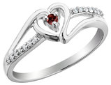 Garnet Heart Promise Ring with Diamonds in Sterling Silver