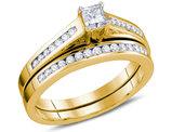 1/2 Carat (ctw H-I, I1-I2) Princess Cut Diamond Engagement Ring & Wedding Band Set 14K Yellow Gold