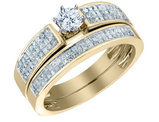 1.00 Carat (ctw H-I, I1-I2) Diamond Engagement Ring & Wedding Band Set in 14K Yellow Gold