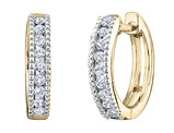 Diamond Hoop Earrings 1/4 Carat (ctw) in 10K Yellow Gold