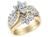 Marquise Diamond Engagement Ring & Wedding Band Set 2.0 Carat (ctwi1-I2,G-HI) in 14K Yellow Gold