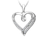 Heart Pendant with Diampond Accent in Sterling Silver with Chain