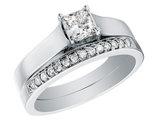 1/2 Carat (ctw G-H, I1-I2) Princess Cut Diamond Engagement Ring & Wedding Band Set in 14K White Gold