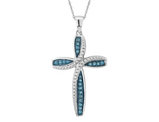 1/4 Carat (ctw I2-I3) Large Blue Diamond Cross Pendant Necklace in 10K White Gold with Chain