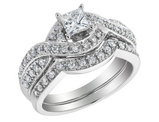 3/4 Carat (ctw H-I, I1-I2) Princess Cut Diamond Engagement Ring & Wedding Band Set in 14K White Gold