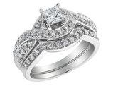 Princess Cut Diamond Engagement Ring and Wedding Band Set 3/4 Carat (ctw) in 14K White Gold