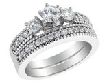 Three Stone Diamond Engagement Ring and Wedding Band Set 1.0 Carat (ctw) in 14K White Gold