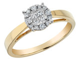 Diamond Engagement Cluster Ring 1/4 Carat (ctw) in 14K Yellow Gold