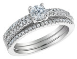 Diamond Engagement Ring and Double Wedding Band Set 3/4 Carat (ctw) in 14K White Gold