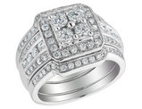 1.50 Carat (ctw I-J, I2-I3) Diamond Engagement Ring and Double Wedding Band Set in 14K White Gold