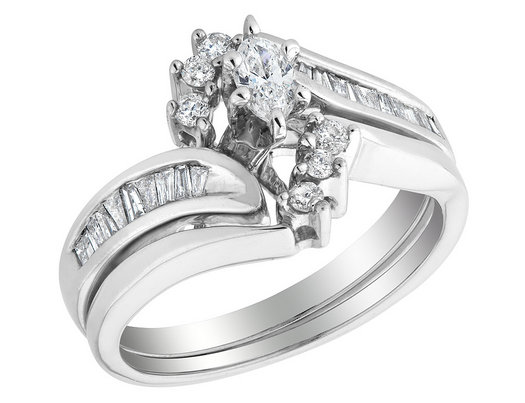 8373e96162 Marquise Cut Diamond Engagement Ring and Wedding Band Set 1/2 Carat (ctw)  in 14K White Gold - Gem & Harmony